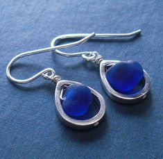 seaglass jewelry - blue raindrops seaglass earrings | Flickr