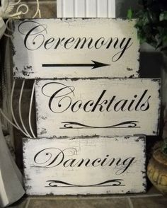 CEREMONY / COCKTAILS / DANCING Set of 3 w/ by thebackporchshoppe, $54.95