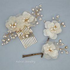 Wedding Headpieces Gold Bridal Hair Pieces  Silk Hair Flowers