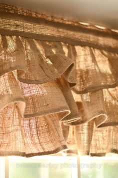 Burlap Ruffled Valance by PaulaAndErika on Etsy. This would really look good in my breakfast area.