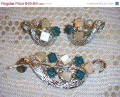 SALE Vintage brooch and earrings set silver by PaganCellarJewelry, $9.34