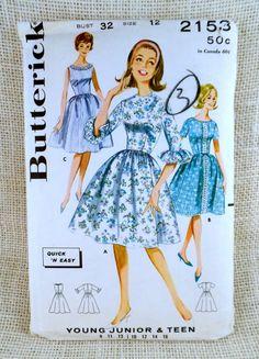 Vintage Pattern 1950s 1960 Butterick 2153 by momandpopcultureshop