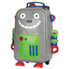 Stephen Joseph Robot Grey 13 inch Rolling Backpack