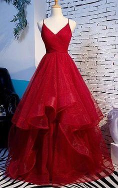 Red Tulle Layered Spaghetti Straps V Neck Lace Up Prom Dress, Evening Dress - S. - Red Tulle Layered Spaghetti Straps V Neck Lace Up Prom Dress, Evening Dress – Source by madlynmirage – Red Ball Gowns, Red Evening Gowns, Ball Gowns Prom, Evening Party, Straps Prom Dresses, Pretty Prom Dresses, A Line Prom Dresses, Red Formal Dresses Long, Cinderella Prom Dresses