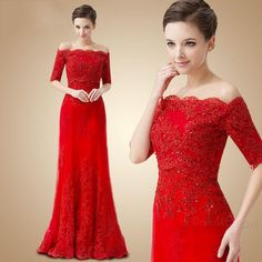 New Fashion Off Shoulder Red Evening Gowns Lace Appliqued Beaded Full Length Custom Made Elegant Party Dresses Long Red Lace Prom Dress