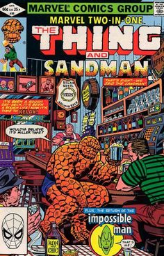 """Ron Wilson, a mug of beer between two mugs inspires the Sandman to go straight. Written by Tom DeFalco (wonder what he thought of """"Spider-Man 3""""?)."""