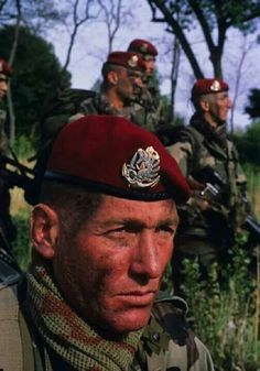 French paratrooper with badge of Marine infantry (former colonial airborne unit).