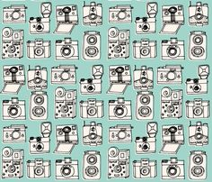 Vintage Cameras - Pale Turquoise fabric by andrea_lauren on Spoonflower - custom fabric