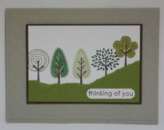Stampin' Up Trendy Trees card - different ideas....what a cute way to make a hill with torn paper.