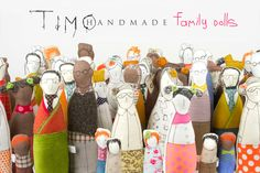 Soft sculptur Family dolls Four adults and three by TIMOHANDMADE