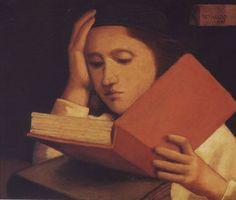 "Reynaldo Fonseca (Brazilian, b. 1925) - ""A lectura"" (Reading), 1997 – Oil on canvas"