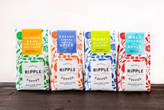 Ripple Coffee is committed to roasting beans strictly from farms owned by women. The company is dedicated to compensating women for their contributions by giving a percentage of each purchase back to the community. Packaging Design by Design Womb. Food Packaging Design, Packaging Design Inspiration, Brand Packaging, Branding Design, Food Branding, Bottle Packaging, Branding Ideas, Corporate Design, Coffee Branding