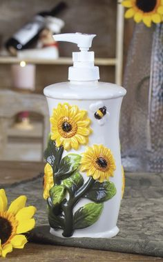 13 sunflower kitchen soap bottle for a cute and fun feel - Shelterness