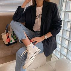 Korean Casual Outfits, Korean Outfit Street Styles, Korean Fashion Work, Business Casual Outfits, Cute Casual Outfits, Suit Fashion, Daily Fashion, Fashion Outfits, Pinterest Fashion