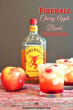 Nothing is better on a fall night then this fireball cherry apple bomb cocktail…. Nothing is better on a fall night then this fireball cherry apple bomb cocktail. Go ahead and fancy it up by topping it off with some cherries. Christmas Drinks Alcohol, Mixed Drinks Alcohol, Party Drinks Alcohol, Alcohol Drink Recipes, Bar Drinks, Yummy Drinks, Fall Mixed Drinks, Cocktail Drinks, Cocktail Ideas