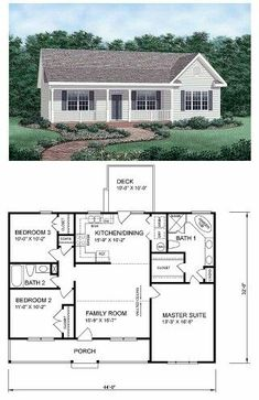 Ranch HomePlan 45476 has 1258 square feet of living space, 3 bedrooms and 2 bathrooms. Central & open to the floor plan, the kitchen and family room separate the master suite from the the smaller bedrooms. Walk through the dining area to the back deck. Ranch House Plans, Bedroom House Plans, Small House Plans, House Floor Plans, Floor Plans For Homes, Ranch Floor Plans, 3 Bedroom Home Floor Plans, Square Floor Plans, Simple Floor Plans