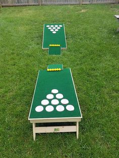 Have hours of fun with the newest, hottest game on the market! Beer pong golfhole! Included in the set are: 2 pong boards, 2 chipping mats, and 12 plastic golf balls. To play- (Same rules as regular beer pong), except you have to chip the balls to the other end. Boards are placed 15