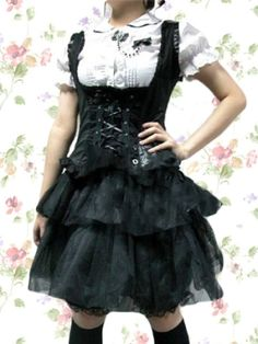 Black And White Cotton Yarn Gothic Lolita Dress by short prom dresses