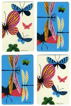 DRAGONFLIES & BUTTERFLIES (4) Tammis Keefe Vintage Single Swap Playing Cards. $1.50, via Etsy.