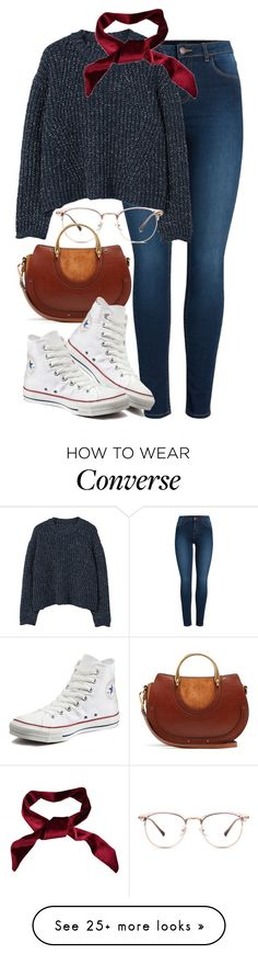 """Chloe x Converse"" by muddychip-797 on Polyvore featuring Pieces, MANGO, Chloé, Converse, casual, converse, chloe, brunch and fashionset"