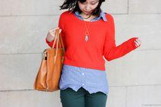 bright orange crop sweater