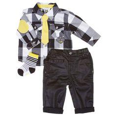 Plaid Shirt & Black Pant Set (3-9m)