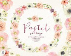 Watercolor pastel wreath, juliet roses, anemone, peony, wedding flowers, bouquet florals, floral clip art, vintage invite, diy stationery