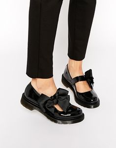 Dr Martens Mariel Bow Mary Jane Patent Flat Shoes