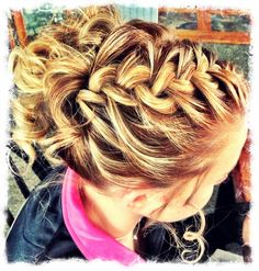 @Kathy Chan Chan Hare Dahler you could curl allie's hair and then do a cute braid/bun. the curls would give it texture and it wouldn't fall out by the end of the night