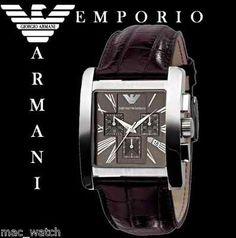 EMPORIO ARMANI Herren Uhr Chrronograph AR0185 braun Leder ORIGINAL NEU