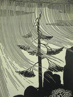 Don Blanding, Windy Day, 1948. Not sure if this is a linocut or a woodcut but the principle is the same ...