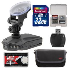 """Zuma HD DVR Car Dashboard Video Recorder Camera with 2.5"""" LCD Screen with 32GB Card + Case + Accessory Kit. KIT INCLUDES 6 PRODUCTS -- All BRAND NEW Items with all Manufacturer-supplied Accessories + Full USA Warranties:. [1] Zuma HD DVR Car Dashboard Video Recorder Camera with 2.5"""" LCD Screen +. [2] Transcend 32GB SDHC 300x Card +. [3] JVC Camera & Accessory Case + [4] PD SD/SDHC MicroSD Reader +. [5] PD 8 SD Card Memory Card Case + [6] Microfiber Cleaning Cloth."""