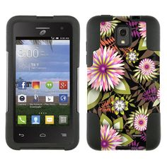 Alcatel OneTouch Pop Star Hybrid Stand Case Exotic Pink and White Flowers on Black
