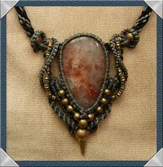 unique macrame necklace with sunstone by macramen on Etsy, $80.00