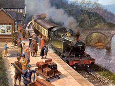 Old Train paintings ! Old Steam Train, British Travel, Steam Railway, Train Art, Train Pictures, Great Western, Steam Locomotive, Train Station, Train Tickets