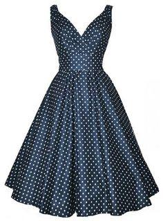 Padgene Robe Année 50 V-cou Robe De Bal Style Rockabilly Swing À Pois Pin Up(bleu foncé, M)