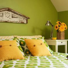 Garden Green - Garden Green  Leafy green combined with sunny yellow and touches of earthy brown brings the palette of the garden into your bedroom. Here, sunflowers were the inspiration for a bright, cheery space.