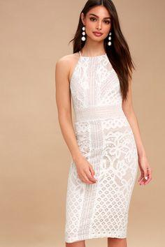 Primrose Nude and White Lace Bodycon Midi Dress 3