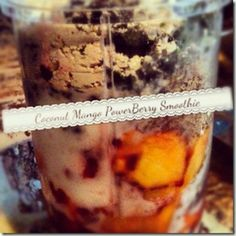 COCONUT MANGO POWERBERRY SMOOTHIE  1 scoop vanilla sunwarrior protein powder 1/4 cup raspberries 1/2 cup frozen mango 3/4 cup frozen spinach 1TB chia seeds  1TB flax 2TB coconut flakes 1 cup unsweetened almond/coconut milk, 1/4 cup coconut milk kefir