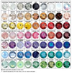 Interactive Swarovski Color Chart from Stefanie Somers Jewelry. Check availability for every color in the Swarovski range SSC uses. Gold Nike Slides, Swarovski Crystal Beads, Minerals And Gemstones, Healing Stones, Stones And Crystals, Gem Stones, Bunt, Just In Case, Jewels