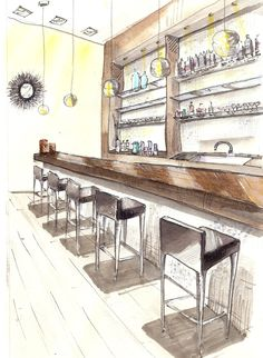 Interior Design Architecture Photography Portfolio: Drawing Practice In 2019 Drawing Interior, Interior Design Sketches, Interior Rendering, Beautiful Interior Design, Bar Interior, Bathroom Interior Design, Interior Lighting, Kinetic Architecture, Interior Architecture