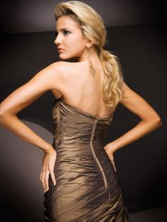 2012 Spring Style A-line Strapless Ruffles  Sleeveless Floor-length Taffeta Chocolate Prom Dress / Evening Dress