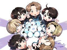 Bts Chibi, Cute Anime Chibi, Namjin, Bts Blackpink, Art Kawaii, Fanart Bts, Chibi Wallpaper, Kpop Drawings, Bts Backgrounds