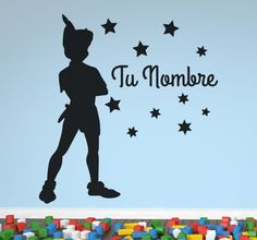 Decorative #sticker of #PeterPan 's shadow surrounded by a series of stars and the name of your child in a #beautiful lettering.   Customize your child's #bedroom with this great sticker with a well loved #Disney character. #tenstickers