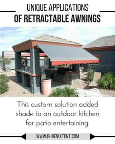 Custom retractable awning shades an outdoor kitchen in Phoenix's hot sun.