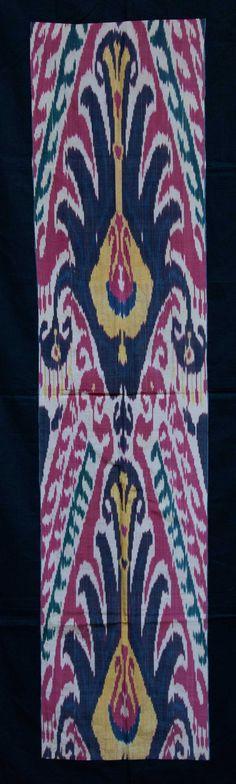 Ikat fragment, Central Asia, Uzbekistan, silk-cotton handwoven.