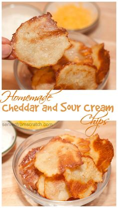 Make it yourself- Cheddar and Sour Cream Chips made from scratch and real ingredients, potatoes, cheddar, and sour cream!