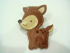 Lili the Fawn leather keychain  Brown  by leatherprince on Etsy, $21.90
