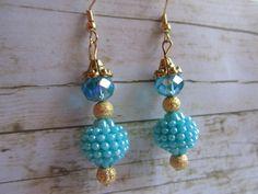 Turquoise Earrings, Blue Bumpy Bead Earrings, Gold Earrings, Aqua Earrings, Sale Earrings, Birthday Gifts Women, Earrings, Beach Earrings by BrownBeaverBeadery on Etsy