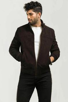 Men's Goat Suede Bomber/Varsity Leather Genuine Goat Suede LeatherHigh Quality YKK Zipper Two hand pockets with zipperInside Silk Lining and PocketFine Premium StitchingAll Sizes and Colors are Available Lambskin Leather, Suede Leather, Black Suede, Leather Varsity Jackets, Leather Jacket, Dark Brown, Dark Blue, Stylish Jackets, Biker Style
